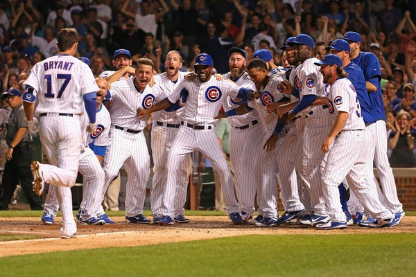 The Chicago Cubs celebrating their first World Series win in 108 years.