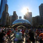 chicago bike week, urban cycling, the bean, chicago skyline