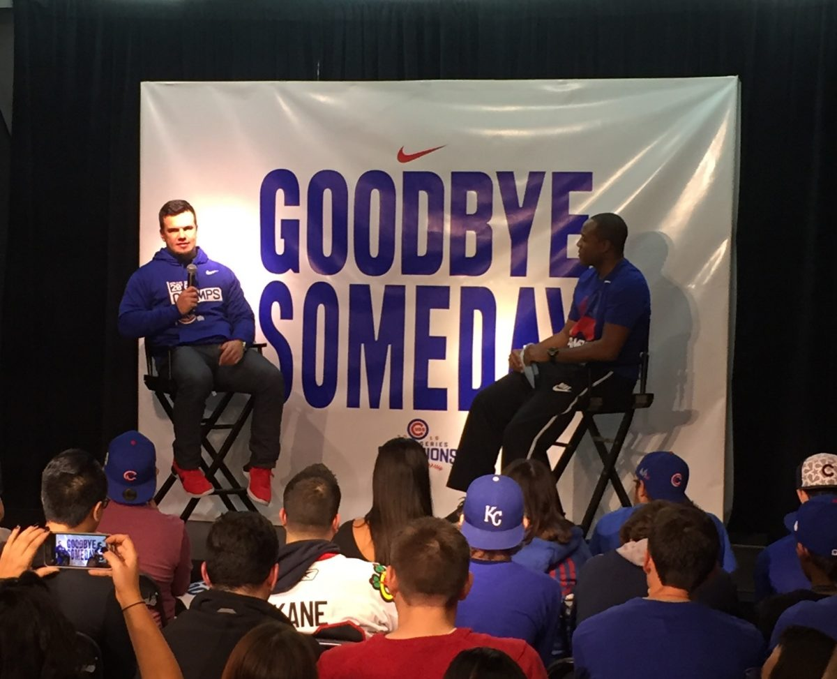 Kyle Schwarber talking about his ACL injury and being the DH in the World Series at Nike Chicago Monday.