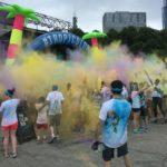 "The frequent post-race ""color throws"" created a colorful environment."