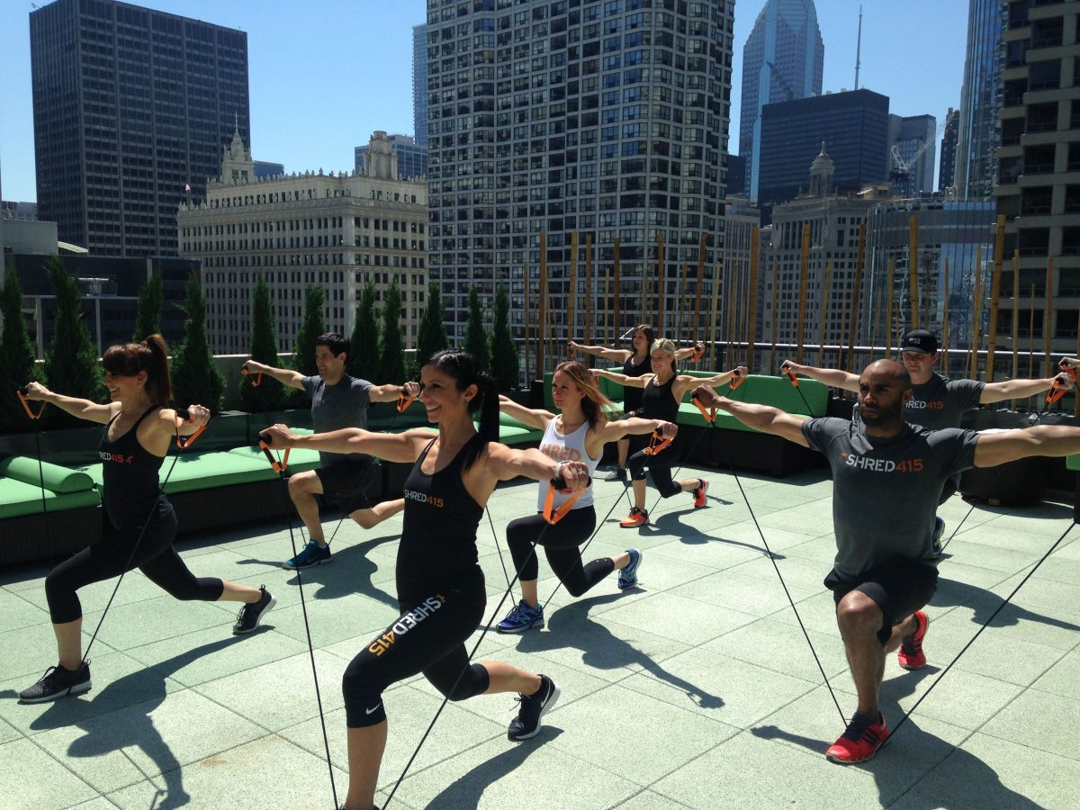hotel palomar, shred415, chicago, downtown chicago, river north, rooftop, workout, rooftop workout, bonnie and tracy, HIIT, resistance band