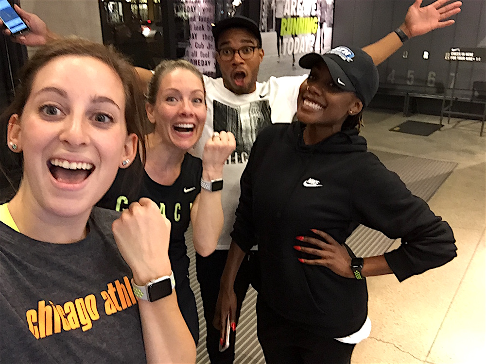 Me, with coach Robyn Lalonde, Nike employee Kennard McClellan and writer Akisha Lockhart after our run with our Apple Watch Nike+