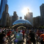 chicago bike week, urban cycling, the bean, chicago skyline